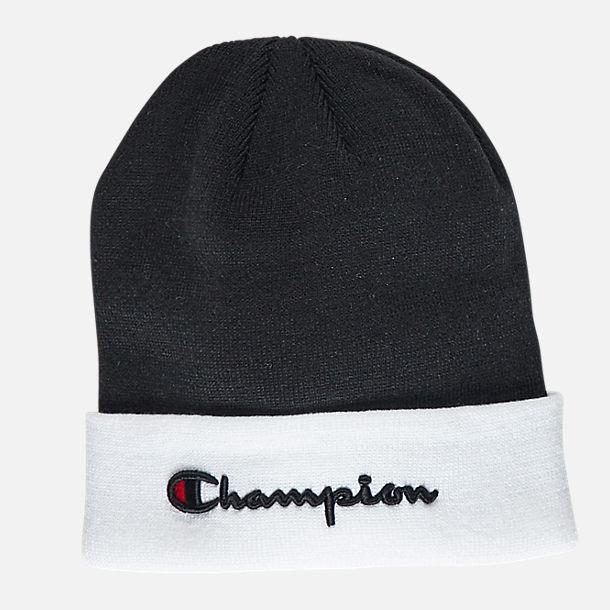 3d2c3504ecbd8d order front view of champion script beanie hat in black white 29c9b 50aba