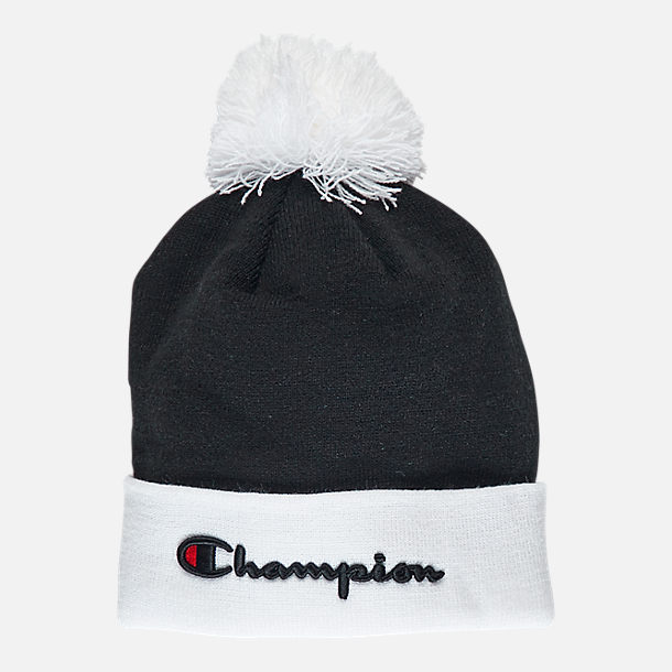 Front view of Champion Script Knit Pom Beanie Hat