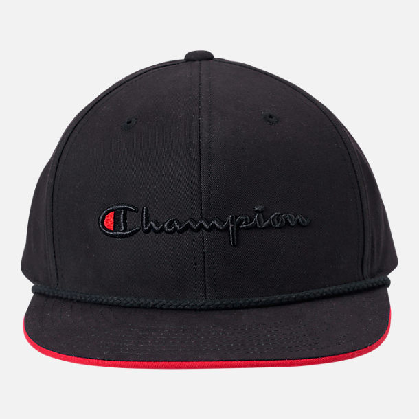 Back view of Champion Script Snapback Hat in Black