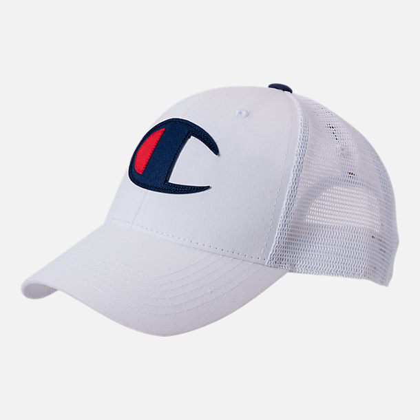 523bfc538a2 Front view of Champion Twill Mesh Strapback Dad Hat in White
