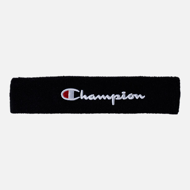 Front view of Champion Terry Headband in Black