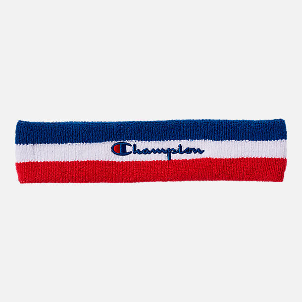 Front view of Champion Terry Headband in Red/White/Blue
