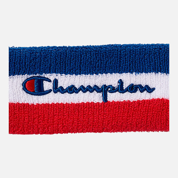 Back view of Champion Terry Headband in Red/White/Blue