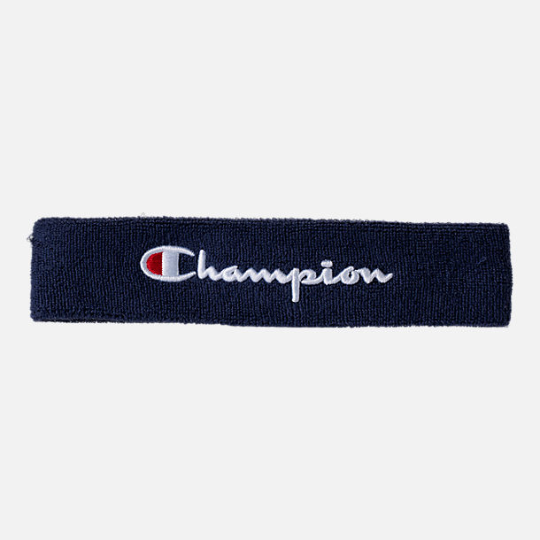 Front view of Champion Terry Headband in Navy