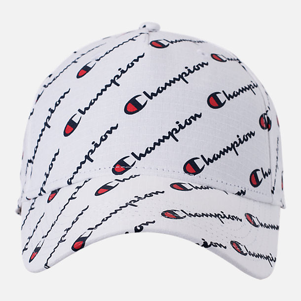 Back view of Champion All Over Print Classic Twill Hat in White
