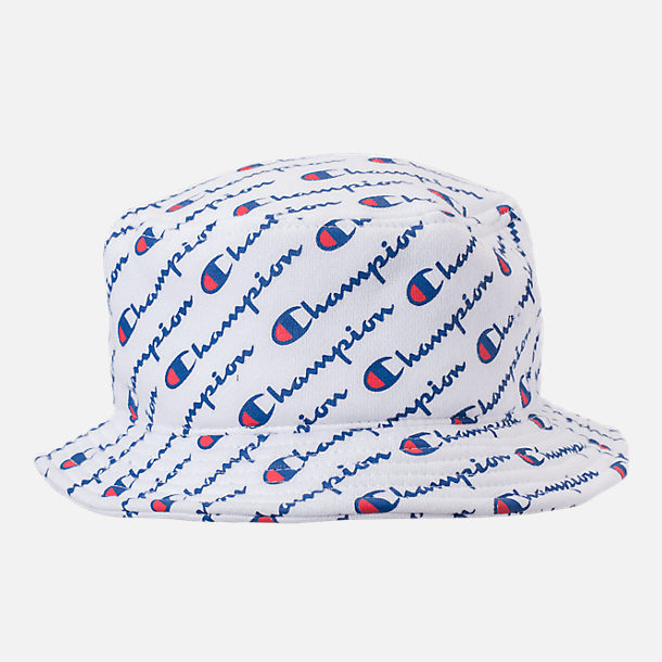 Front view of Champion Reverse Weave Allover Print Bucket Hat in White