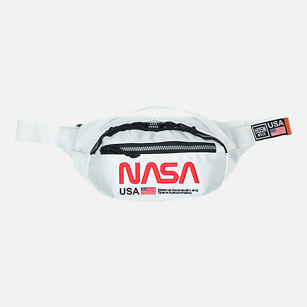 Front view of Hudson NASA Worm Adjustable Waist Pack in White