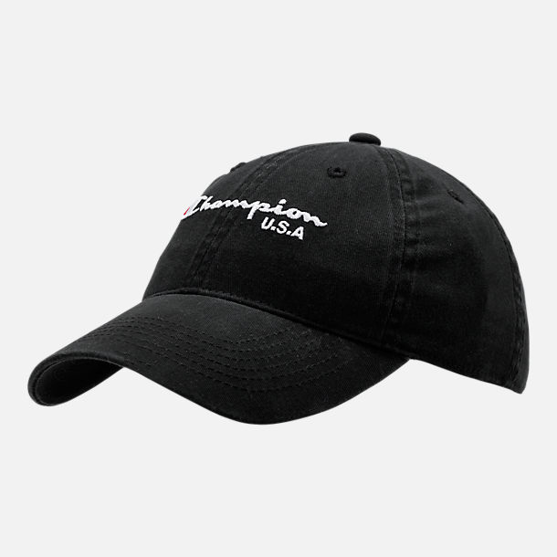 Front view of Women's Champion Classic Twill Adjustable Hat in Black