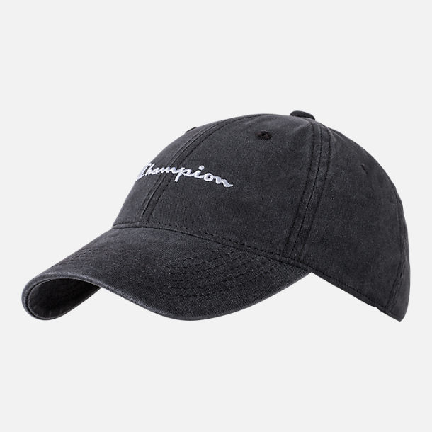 Front view of Women's Champion Pigment Dye Adjustable Hat in Washed Black