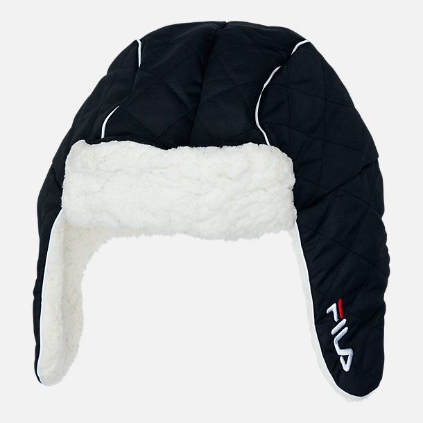 Front view of Unisex FILA Heritage Trapper Hat in Black
