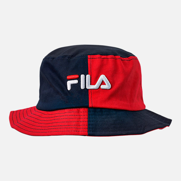 Front view of Fila Blocked Bucket Hat in Red Navy 5466c259a68