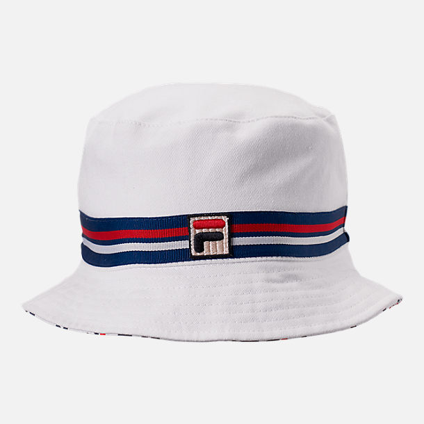 Front view of Fila Reversible Bucket Hat in White