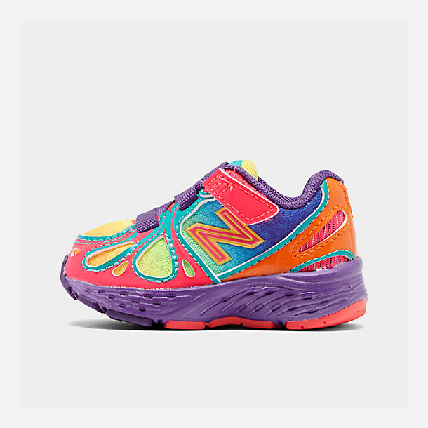 Right view of Girls' Toddler New Balance 890 Hook-and-Loop Closure Running Shoes in Rainbow