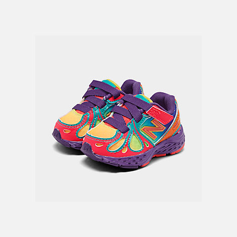 Three Quarter view of Girls' Toddler New Balance 890 Hook-and-Loop Closure Running Shoes in Rainbow