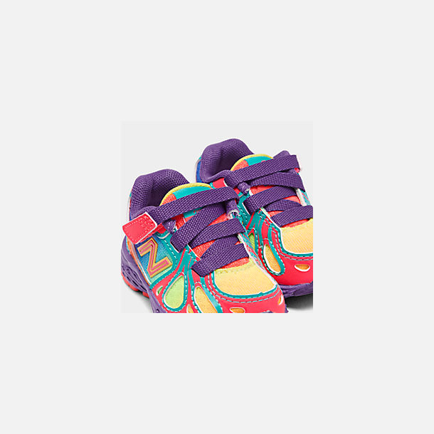 Front view of Girls' Toddler New Balance 890 Hook-and-Loop Closure Running Shoes in Rainbow