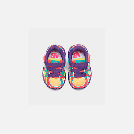 Back view of Girls' Toddler New Balance 890 Hook-and-Loop Closure Running Shoes in Rainbow