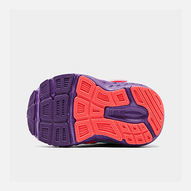 Bottom view of Girls' Toddler New Balance 890 Hook-and-Loop Closure Running Shoes in Rainbow