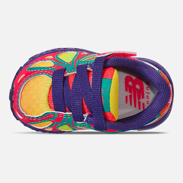 Top view of Girls' Toddler New Balance 890 Hook-and-Loop Closure Running Shoes in Rainbow