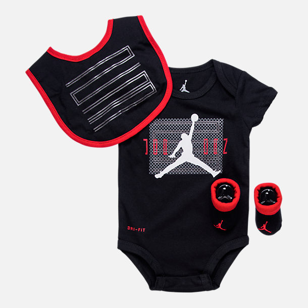 Front view of Infant Jordan AJ11 3-Piece Set in Black/Red