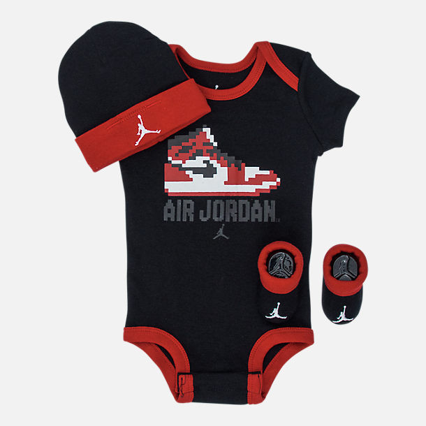 Front view of Boys' Infant Air Jordan Game Changer 3-Piece Set in Black/Red