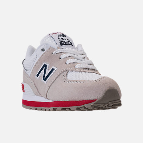 Three Quarter view of Boys' Toddler New Balance 574 Casual Shoes in Nimbus Cloud/Navy