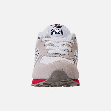 Front view of Boys' Toddler New Balance 574 Casual Shoes in Nimbus Cloud/Navy