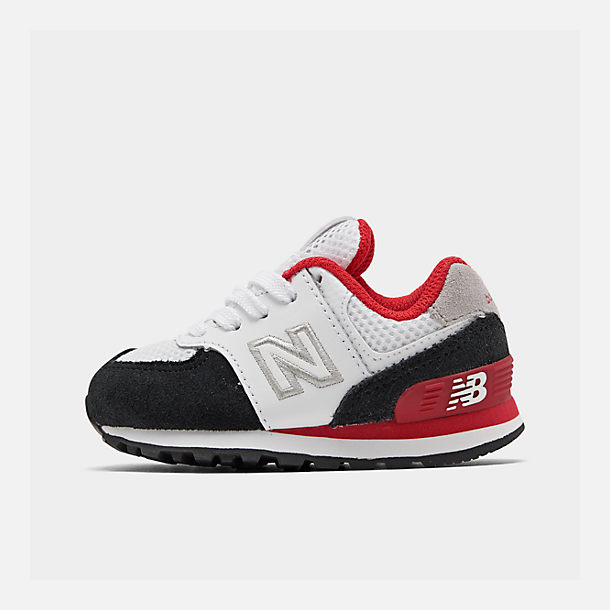 Right view of Boys' Toddler New Balance 574 Summer Sport Casual Shoes in White/Black/Red