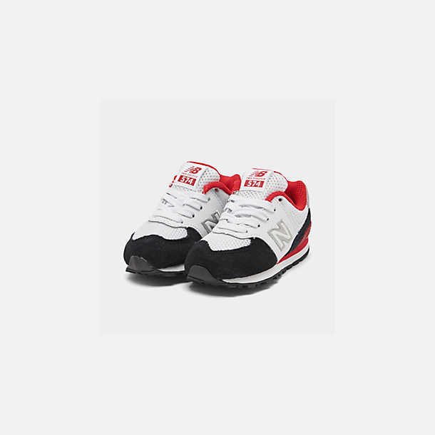 Three Quarter view of Boys' Toddler New Balance 574 Summer Sport Casual Shoes in White/Black/Red
