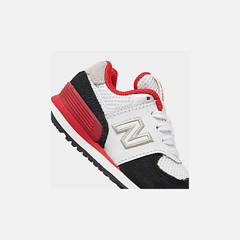 Front view of Boys' Toddler New Balance 574 Summer Sport Casual Shoes in White/Black/Red