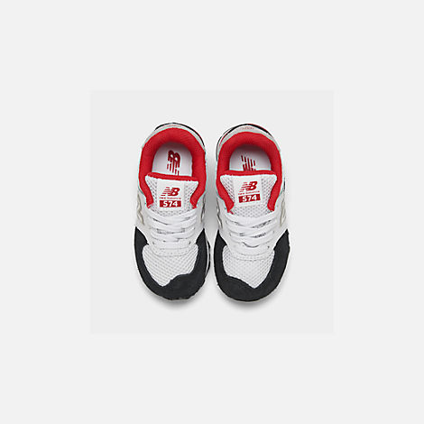 Back view of Boys' Toddler New Balance 574 Summer Sport Casual Shoes in White/Black/Red