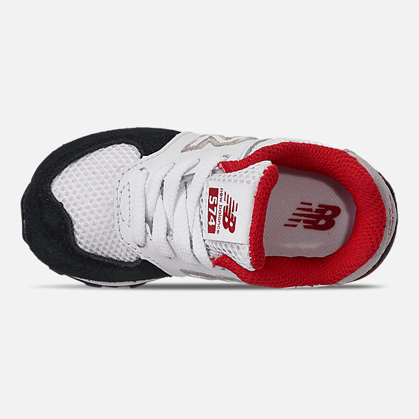 Top view of Boys' Toddler New Balance 574 Summer Sport Casual Shoes in White/Black/Red