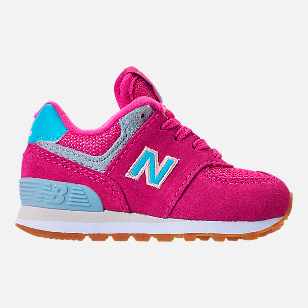 Right view of Girls' Toddler New Balance 574 Casual Shoes in Exuberant Pink/Blue