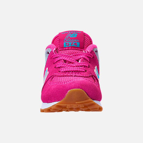 Front view of Girls' Toddler New Balance 574 Casual Shoes in Exuberant Pink/Blue