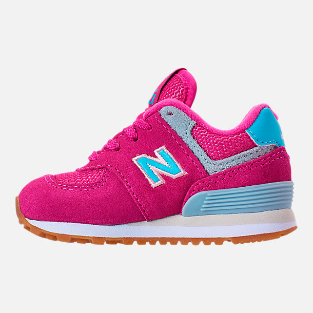 Left view of Girls' Toddler New Balance 574 Casual Shoes in Exuberant Pink/Blue