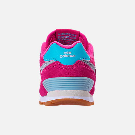 Back view of Girls' Toddler New Balance 574 Casual Shoes in Exuberant Pink/Blue