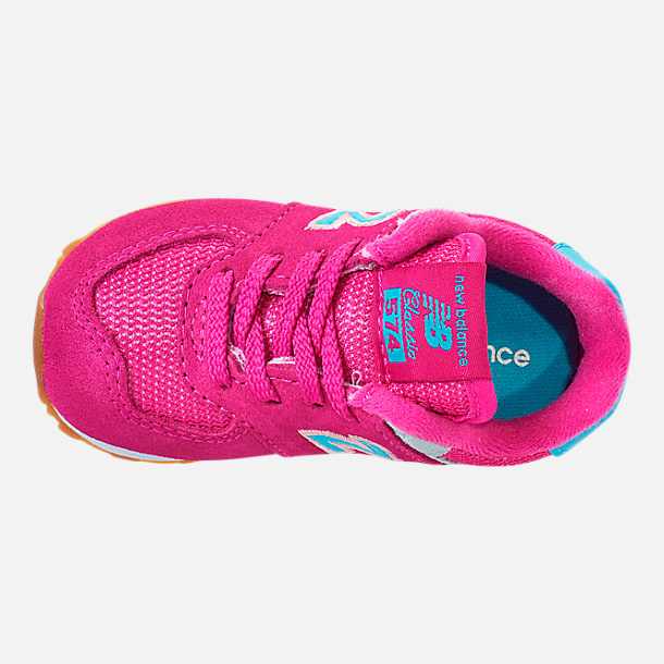 Top view of Girls' Toddler New Balance 574 Casual Shoes in Exuberant Pink/Blue