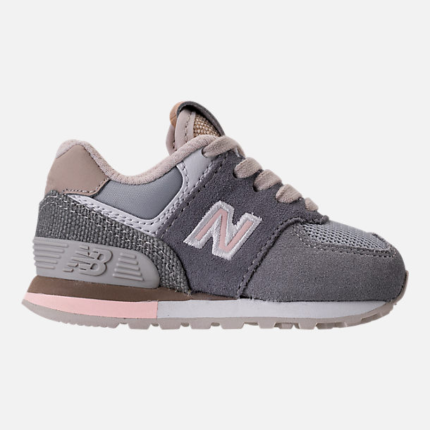 Right view of Girls' Toddler New Balance 574 Casual Shoes in Gunmetal/Steel