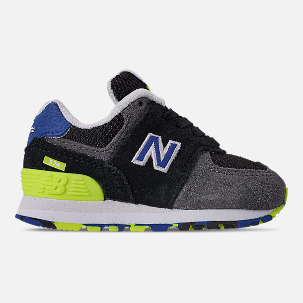 Right view of Boys  Toddler New Balance 574 Suede Casual Shoes in  Black Royal b87c250304