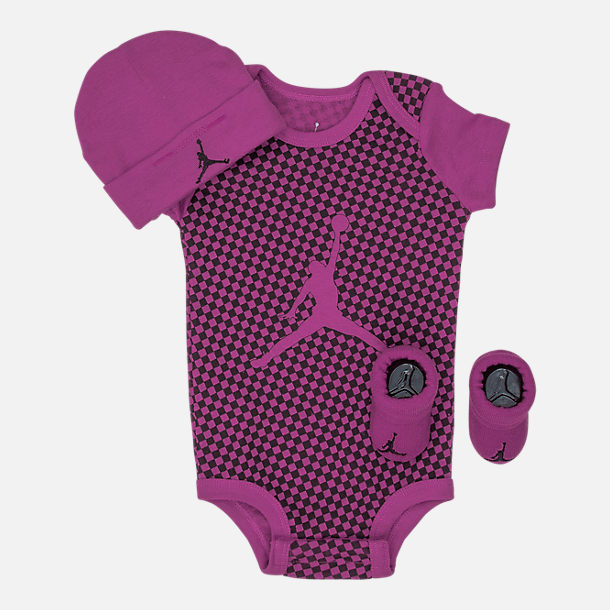 Front view of Girls' Infant Air Jordan Checkered 3-Piece Set in Fuchsia/Black