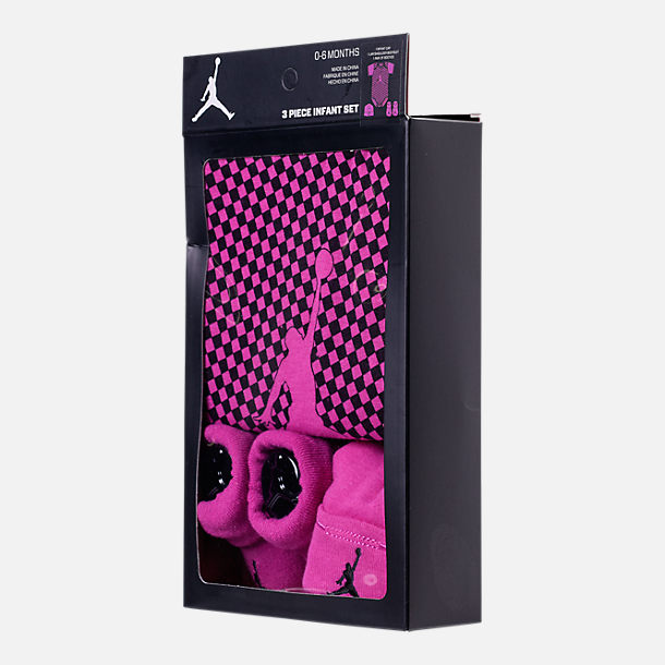 Back view of Girls' Infant Air Jordan Checkered 3-Piece Set in Fuchsia/Black