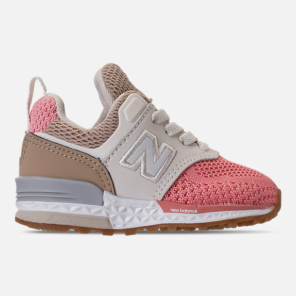 Right view of Girls' Toddler New Balance 574 Sport Casual Shoes in Hemp/Dusted Peach