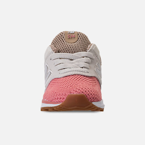 Front view of Girls' Toddler New Balance 574 Sport Casual Shoes in Hemp/Dusted Peach