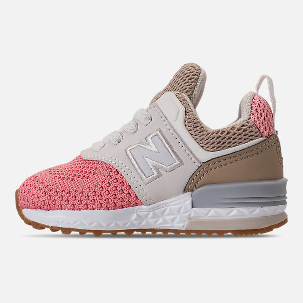 Left view of Girls' Toddler New Balance 574 Sport Casual Shoes in Hemp/Dusted Peach