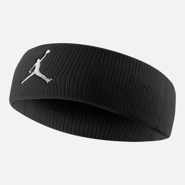 Front view of Jordan Jumpman Athletic Headband in Black White 83b6491d6e3