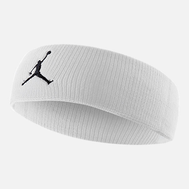Front view of Jordan Jumpman Athletic Headband in White/Black