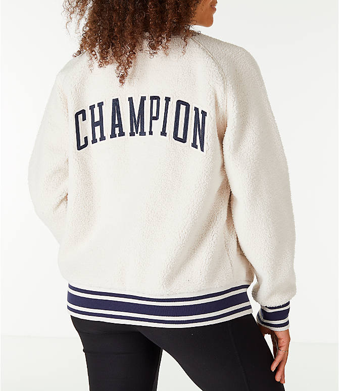 Back Right view of Women's Champion Sherpa Full-Zip Bomber Jacket in Quartz Cream