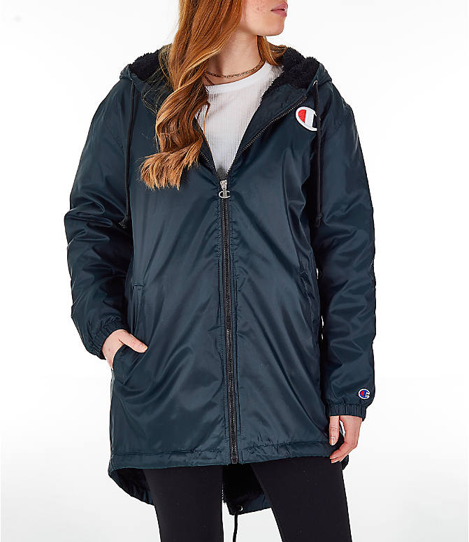 Front view of Women's Champion Sherpa Lined Stadium Jacket in Black
