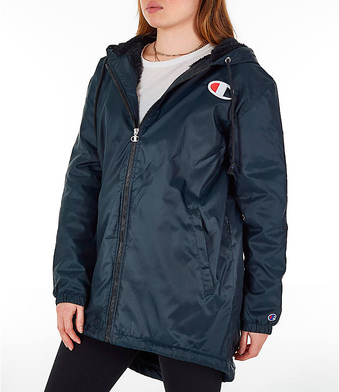 Front Three Quarter view of Women's Champion Sherpa Lined Stadium Jacket in Black