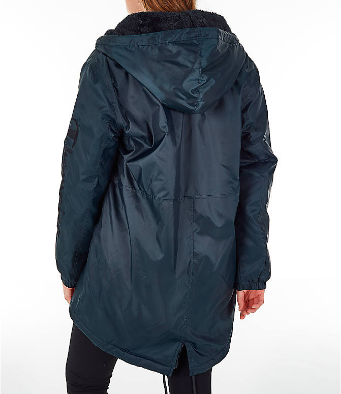 Back Left view of Women's Champion Sherpa Lined Stadium Jacket in Black