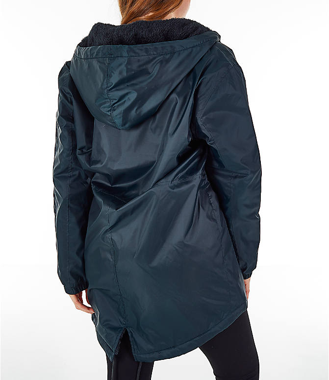 Back Right view of Women's Champion Sherpa Lined Stadium Jacket in Black